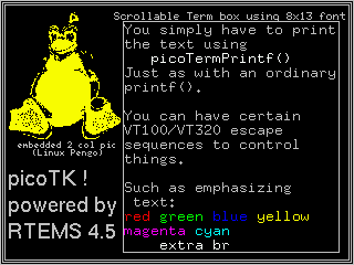 This shows a PicoTK demo screen snapshot, showing a Linux pinguin         pixmap, and a picoTK terminal box on 320x300 pixels